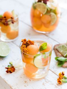 Savor summer with a Ginger Cantaloupe Sangria! This white sangria is made with melons, ginger simple syrup and white wine! Fragrant Cocktail Recipes and Inspiration For Karen Gilbert Sangria Wine, Vodka Cocktails, Wine Drinks, Beverages, Sangria Alcohol, Healthy Cocktails, Frozen Cocktails, Cocktail Fruit, Champagne Cocktail