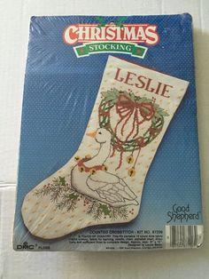 Christmas GOOSE Stocking Cross Stitch Kit NIP Leslie Good Shepherd ...