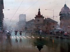 Rainy day, Watercolor on Paper, Djukarić Dusan art for sale