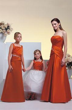 Cheap and Australia Orange A-line Straps Pleated Bodice Satin Floor Length Junior Bridesmaid Dresses from Dresses4Australia.com.au