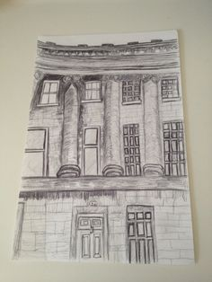 I continued to look at buildings in Bath and used a biro pen to compare the difference in lines to the fine liner. Looking at sections of buildings is something that I want to continue with and will develop further later in the project. Also buildings in Bath interest me and I will look at the shapes and patterns.