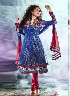 Beautiful Blue Net Designer Festival Wear Anarkali Salwar  Suit http://www.angelnx.com/Salwar-Kameez/Anarkali-Suits