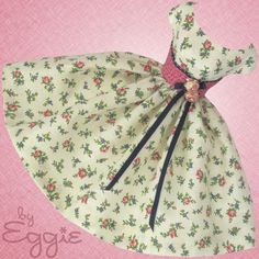 Summer Roses- Vintage Barbie Doll Dress Reproduction Repro Barbie Clothes