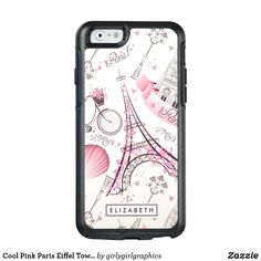 Cool Pink Paris Eiffel Tower Modern OtterBox Case Girly-Girl-Graphics at Zazzle: Cool Classy Customizable Pastel Pink, Ruby Red, and Ivory White Paris France Eiffel Tower, Bicycle, Balloons, Butterflies, Arc de Triomphe Pattern Printed Beautiful Glam Modern Trendy Stylish Elegant Best Classic OtterBox Apple iPhone 6 / 6 s Case features a fashionably chic design and makes a uniquely lovely teenage daughter birthday, Christmas, wedding, graduation, or any day gift for yourself, friends, or…