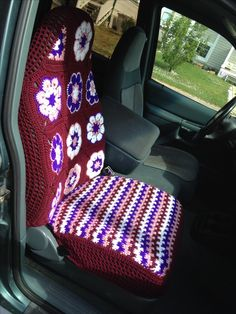 Crochet Car seat cover, no pattern just winged it