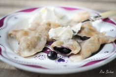 Ooh I heart you polskie pierogi.  Blueberry pierogi. Dough can also be made with flour and warm water only. You have to have a good flour (type 450/500). MOst Dutch flour would not do. There should be only 0.5 g of ashes in 100 g of flour. Yes, I know - complicated.