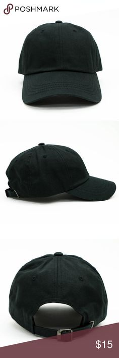 Dad Cap - Black Yupong 100% Cotton Made in Bangladesh High Quality Garment One Size Fits All Suitable for Larger Heads Buckle Clasp Stussy Accessories Hats