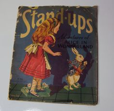 Very Large Size Antique 1934 Saalfield Alice in Wonderland Paper Doll Stand Ups Book Uncut Rare Find~~