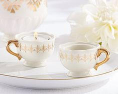Classic Gold Teacups Tealight Holder (Set of porcelain and a glistening golden glow come together in these tealightful little favors. Place these Classic Gold Teacups Tealight Holders on guest tables at your elegant bridal shower or wedding Vintage Wedding Favors, Elegant Wedding Favors, Candle Wedding Favors, Candle Favors, Wedding Ideas, Gold Wedding, Wedding Stuff, Wedding Decorations, Vintage Theme