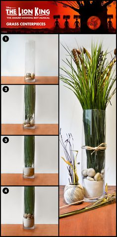 "Tall Grass Centerpiece inspired by THE LION KING. Materiels: Tall wheat grass (10-12 inches), twine, tall cylindrical vase, card stock or similar material, hot glue gun Step 1: Cut a 3"" strip of card..."