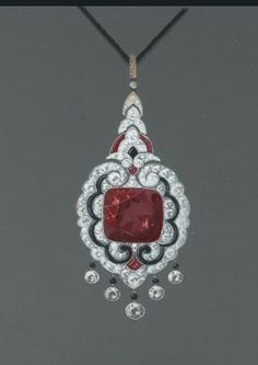 Gouache design for Art Deco diamond, ruby and onyx pendant.