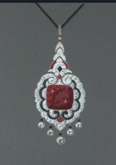 Gouache design for Art Deco diamond, ruby and onyx pendant.