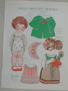 Nine pages of charming vintage paper dolls from the Dolly Dingle series of paper dolls. These nine pages are from the March through November, 1929 issues of the Pictorial Review. Artist is Grace G Drayton. Original magazine pages. Reverse sides show a variety of articles and, for many, a column called Just Among Ourselves.  In very good condition. All pages measure 10 3/4 by 13 3/4 inches.  Save on shipping when you buy multiple items! Please message me with questions.