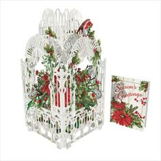 3D Pop Up Christmas Card - Poinsettia & Robin Cage - INPCreative - 1