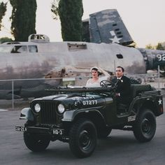 How fun is this vintage military Jeep?  Photo: Rad + In Love.