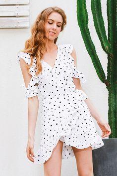 0810f4ed72 Ruffle cold shoulder polkadot print summer dress Vintage irregular bow wrap  shor  Unbranded  WrapDress