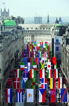 Celebrating the Olympics in 2012 on Regents Street, London. International Flags, Buy Flags, Banners, Olympics, British, Things To Come, London, Street, Prints