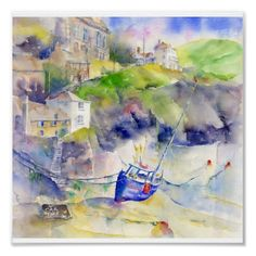 Shop Port Isaac Cornwall Poster created by SheilaGill. Port Isaac, Save The Queen, Sketch Painting, Country Art, Landscape Art, Great Britain, Watercolor Art, Sketches, Wall Art