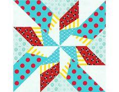 Dancing Arrows paper pieced quilt block pattern PDF via Etsy