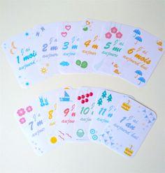cartes mois bébé, baby cards, cartes bébé en pdf, cartes bébé gratuites, cartes à photographier avec bébé, 12 cartes de 1 mois à 1 an - by Humeur de moutard