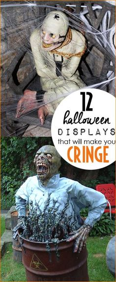 Halloween Displays that will make you Cringe.  Freaky Halloween outdoor and indoor decorations that will scare your pants off.  Ghosts, goblins, psychos and zombies for your yard.