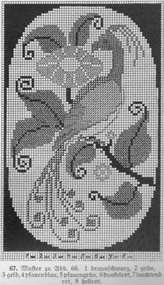 Cross Stitch Bird, Cross Stitch Flowers, Cross Stitch Charts, Cross Stitch Designs, Cross Stitch Embroidery, Cross Stitch Patterns, Filet Crochet, Knit Crochet, Crochet Doily Patterns