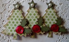 Christmas Tree Embellishments-Set Of 3-Vintage Green Dots
