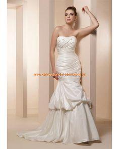 2013 Wunderschöne Brautkleider aus Taft Meerjungfrau mit Schleppe Applikation