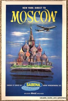 1960 Original Sabena New York MOSCOW Vintage Airline Travel Poster RUSSIA Soviet