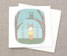 Greeting Card Milke in The Woods With Owl    5.9 x 5.9 by honeycup