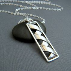 NEW long silver rectangle necklace. origami. by limegreenmodern