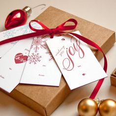 Edge Painted Letterpress Holiday Gift Tags (Set of 8) - Snowflakes, Wishing You Joy, Peace and Love by Daily Sip Studios