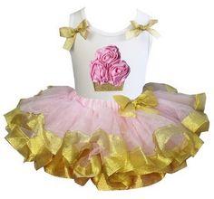 """roze-gouden tutu pettiskirt + top """"cupcake"""" Kirei Sui"""