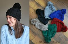Cozy Sweater Beanies- 2 Styles....blue and gray