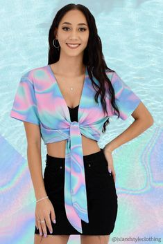 Fab ladies summer tops for casual wear or music festivals. We are loving this new Lucid Dreams print. Also available matching mens hawaiian shirts