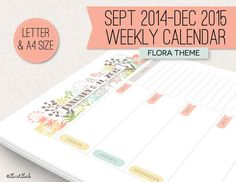 Printable 2015 Weekly Calendar - 53 Sheets - Flora Theme - A4 And Letter Size…