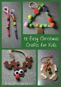 12 easy Christmas crafts for kids (happy hooligans)    http://weathertightroofinginc.com #hemet #christmas #christmasstuff #christmaslights #christmasrecipies #christmasrecipieseasy