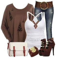 Conjunto marrón y blanco