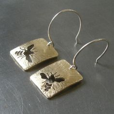 Small Radial Honey Brass Bee Earrings by Beth by BethMillner, $60.00