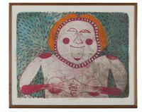 Lot# 1170 Rufino Tamayo (1899-1991 Mexican) ''Femme Souriante [Mujer Sonriente / Smiling Woman]'', color lithograph on paper under glass, image size: 21'' H x 27.5'' W, est: $1000/2000 *Price Realized: $2,082.50