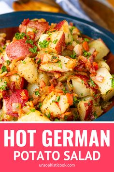 Old-Fashioned Hot German Potato Salad -- this German potato salad recipe makes an ideal summer side dish. Guests will flip for the tangy coarse Dijon apple cider vinegar dressing, along with the… Hot Potato Salads, Potato Dishes, Food Dishes, Authentic German Potato Salad, German Potato Recipes, Potato Salad Recipe Easy, Potato Salad Recipe With Vinegar, German Coleslaw Recipe, Gastronomia