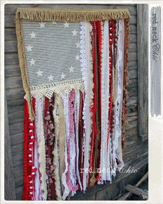 red.neck Chic Betsy Ross Flag / Scrap Fabric Flag / Vintage Fabric Flag / Boho United States Flag / Bohemian Style American Flag