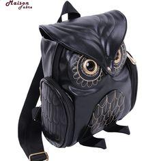 Maison Fabre módní roztomilý sova batoh ženy Cartoon školní tašky pro  dospívající dívky černé ženy batoh kůže bba00a6d8d