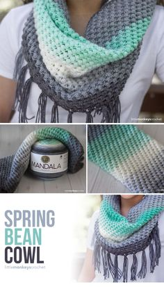 Easy Crochet Projects - bean cowl using Lion Brand Mandala yarn Are you looking for a great, free, & easy crochet projects for spring and summer? You may think that crochet and knitting… Crochet Mens Scarf, Crochet Beanie, Crochet Yarn, Free Crochet, Crochet Scarves For Men, Crochet Triangle Scarf, Crochet Cocoon, Doilies Crochet, Knitting Scarves