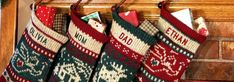 personalized christmas stockings hanging on a mantle Knit Stockings, Knitted Christmas Stockings, Christmas Knitting, Rama Seca, Green Tea Bags, Stocking Hanger, Personalized Stockings, Christmas Delivery, Family Traditions