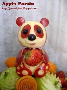 panda apple carving