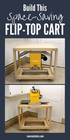 Looking for space-saving ideas for your small workshop? Check out the plans for this DIY Flip Top Tool Stand. You can mount a sander, planer, router, or miter saw on one side then flip the top and use the workbench to build your woodworking projects. This fliptop cart is unique because unlike other flip-top workbenches it's made primarily with 2x4s rather than plywood. Skate over to the free plans now! #woodworkingtips #freeplans #workshoptips #smallworkshopideas