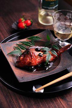 Japanese food / かさごとオリーブの煮つけ