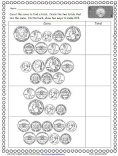 Classroom Freebies: Counting Coins Practice