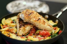 {Fresh Zucchini and Tomato Skillet with Grilled Chicken}